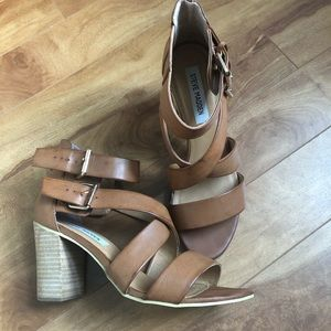 Steve Madden chunky brown heels with straps